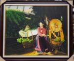 Cô gái bán hoa sen-tranh sơn dầu S042