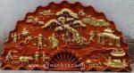 Tranh quạt gỗ hương liền khối đục nổi sơn mạ vàng sơn PU-Đồng Quê -TG261
