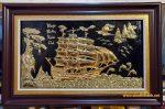 Tranh đồng mạ vàng 24k, thuận buồm xuôi gió A187