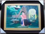Tranh vẽ bột màu sơn-cô gái bán sen-s137