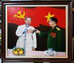 Tranh vẽ sơn dầu-Bác Hồ chúc mừng Đại Tướng Võ Nguyên Giáp-S258