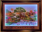 Tranh đèn led lịch vạn niên -làng quê yên bình -DH2025