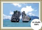 Hòn trống mái vịnh hạ long (tranh theu chu thap)