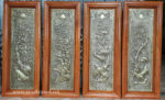 Tứ Quý Đồng tấm liền khung gỗ -A175
