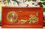 Tranh gỗ hương đỏ, đồng hồ tài lộc đại phát – 4107