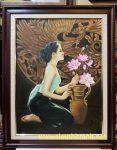 Tranh sơn dầu nghệ thuật – Thiếu nữ bên bình hoa sen-s119