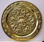 Mâm đồng vàng nguyên chất – Cửu Long Chầu Nguyệt – A222