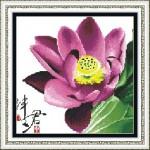 Tranh thêu chữ thập hoa sen – 82036 ( ko in )