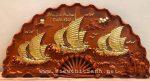 Tranh quạt gỗ hương liền khối đục nổi- Thuận buồm xuôi gió-TG260