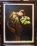 Tranh sơn dầu nghệ thuật -Thiếu nữ bên bình hoa cúc vàng-s064