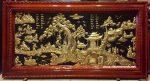 Tranh đồng tấm liền khung gỗ, Đồng Quê – A105