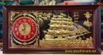 Tranh đồng,đồng hồ thuyền buồm căng gió- A132