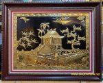 Tranh đồng mạ vàng 24k ,chùa một cột -A166