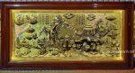 Tranh đồng vàng liền tấm khung gỗ gẵn đèn led- Đồng quê cấy cày-A234