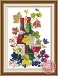 Tranh thêu chữ thập-rượu nho-eh145
