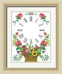 Mẫu thêu đồng hồ Lẵng hoa in 100%