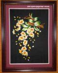 Khóm Lan vàng kheo sắc, tranh thêu-F150