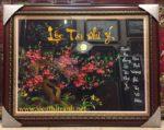 Tranh thêu hoa đào khoe sắc -F151