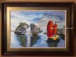 Tranh thêu – Hòn trống mái Vịnh Hạ Long -F179