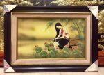 Tranh sứ , thiếu nữ ngồi bên hồ sen- G074