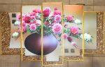 Tranh bộ hiện đại hoa mẫu đơn – HD12