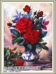 Tranh thêu chữ thập bình hoa hồng -YA622