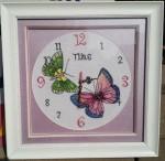 Tranh thêu tay chữ thập ,Đồng hồ hoa bướm -CT050