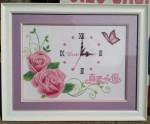 Đồng hồ hoa hồng ,Tranh thêu chữ thập-CT049
