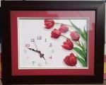 Tranh thêu đồng hồ hoa tulip -CT052