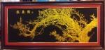 Tranh nhung đồng-mộc long đào hoa-k028
