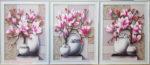 Tranh bộ 3 bức hoa mộc lan -IN066