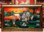 Mừng Song Thọ Cụ Ông cụ Bà ( tranh sơn mài khảm ốc M061 )