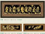 Tranh đồng mạ vàng 24k. Cửu Long-phú quý-mã đáo-MV23