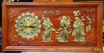 Tranh đồng hồ gỗ hương đục nổi giác vàng -Tam Đa ( Phúc Lộc Thọ)-tg274