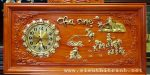 Tranh đồng hồ gỗ hương đục nổi giác vàng – Chữ CHA MẸ-tg275