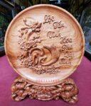 Đĩa gỗ bày bàn – Chữ Lộc -QT23