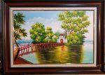 Tranh sơn dầu, Cầu Thê Húc- Hồ Gươm-S189