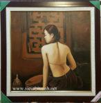 Tranh sơn dầu , cô gái lưng trần- S229