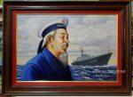 Tranh vẽ sơn dầu – Bác Hồ thăm bộ đội Hải Quân Việt Nam – S259