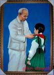 Bác Hồ quàng khăn cho thiếu nhi-tranh sơn mài-sm01