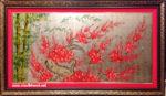 Tranh vẽ sơn mài ,Trúc Đào -SM143