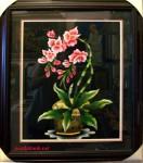 Tranh thêu tay-Hoa lan-t012