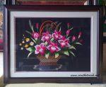 Tranh thêu tay, giỏ hoa-T016