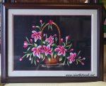 Tranh thêu tay ,giỏ hoa-T017