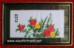 Tranh thêu-mẫu đơn uyên ương-t048