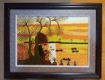 Tranh thêu tay – Phong cảnh Hoàng hôn trên dòng sông -T126