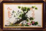 Tranh thêu tay-Tùng Hạc & thư pháp Cha Mẹ-T151