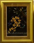 Tranh thêu tay-hoa lan vàng-t161