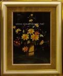 Tranh thêu tay-bình hoa cúc vàng-t162