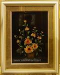 Tranh thêu tay-bình hoa cúc vàng-t166